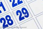 Close-up of a day on a calendar showing 29th day in 